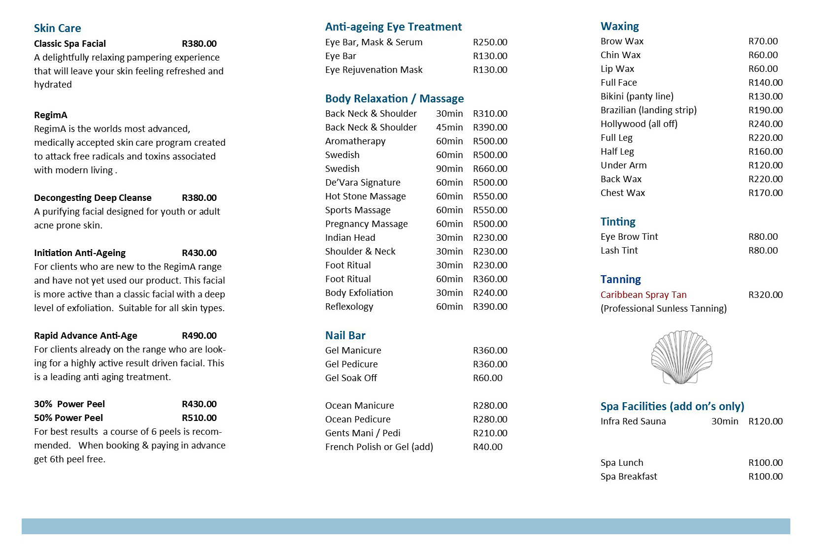 Spa Treatment Menu Blouberg Cape Town